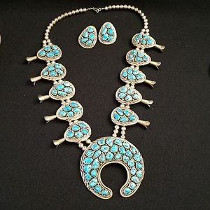 Jewelry - Turquoise and Sterling Silver Squash Blossom Set